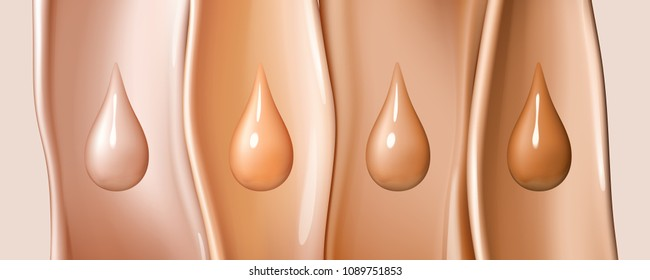 Liquid foundation drops isolated on colored liquid flows background. Creamy texture of droplets. Design elements of advertising of cosmetics. Vector realistic 3d illustration.
