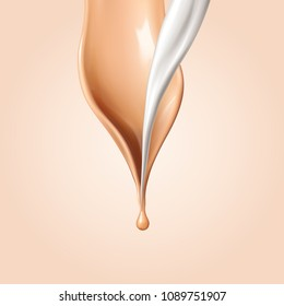 Liquid foundation elements. Flow beige liquid and white fluid creamy texture isolated on background. Vector realistic 3d illustration.
