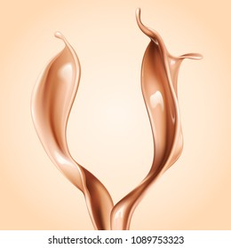 Liquid foundation elements. Splashing beige liquid, flow of creamy texture isolated on background. Vector realistic 3d illustration.