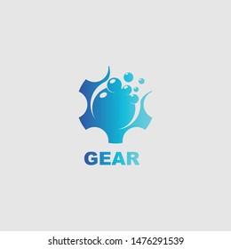 Liquid gear logo icon design template elements