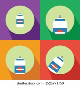 : Liquid Glue Four Color Minimalist Flat Icon Logo Vector Illustration with Different Style