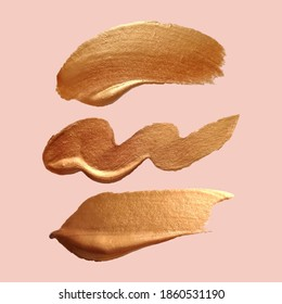 Liquid gold texture.Vector gold paint smear stroke stain set. Abstract metallic texture. Make up swatches. Acrylic color smear