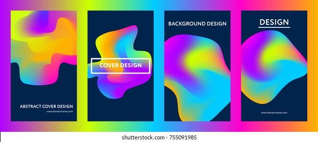 Liquid gradient color covers set. Fluid shapes composition. Futuristic design posters. Eps10 vector.