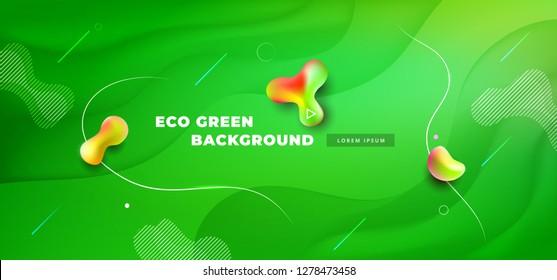 Liquid green color background design. Fluid green gradient shapes composition. Futuristic design posters. Eps10 vector.