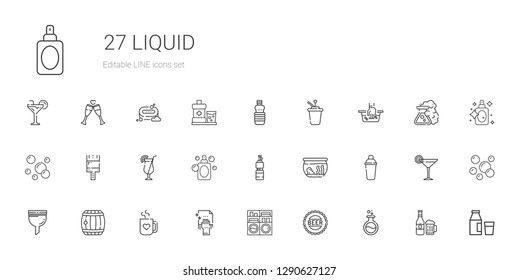 liquid icons set. Collection of liquid with flask, bottle cap, washing machine, cleaning, mug, barrel, filter, shaker, fishbowl, bottle, perfume. Editable and scalable liquid icons.