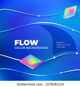 Liquid line color background design. Blue Square Fluid gradient shapes composition with line. Futuristic design posters. Eps10 vector.