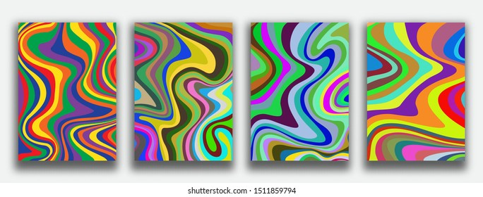 Liquid marble textured backgrounds. Wavy psychedelic backdrops. Abstract painting for wed design or print. Good for cards, covers and business presentations. Vector illustration.