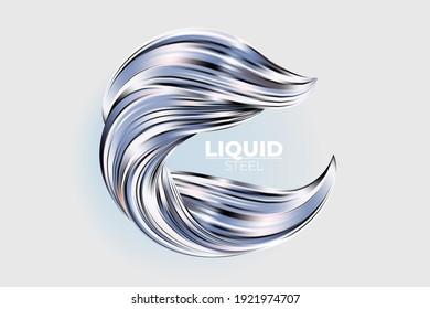 Liquid metal abstract 3d vector design element. Shiny silver fluid flow, mercury swirl illustration. Molted aluminum, precious alloy splash. Metallic paint wave