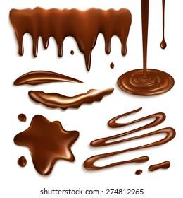 Liquid milk chocolate drops and splashes decorative elements set isolated vector illustration