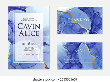Liquid navy  texture, gold  metal flow. Alcohol ink blue 2020 background, iridescent neon abstract texture with metallic foil, gradient mesh on wedding card, RSVP design, thank you card, ivitation.