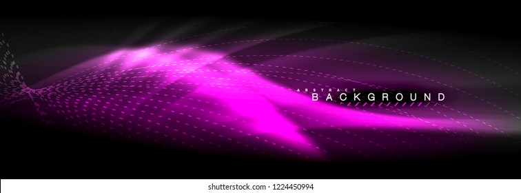 Liquid neon flowing waves, glowing light lines background. Trendy abstract layout template for business or technology presentation, internet poster or web brochure cover, wallpaper. Vector