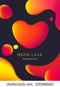 Liquid neon lava lamp vector geometric background for banner, card or UI design on Valentines day.  Gradient mesh bubble in the shape of a red heart. Fluid colorful abstract shapes in mask EPS 10