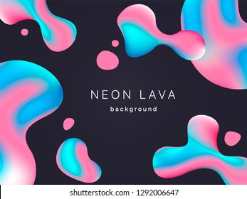 Liquid neon lava lamp vector geometric background for banner or UI design.  Vivid gradient mesh bubbles on black. Fluid colorful abstract shapes in mask EPS 10