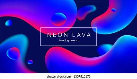 Liquid neon lava lamp vector geometric background for banner or UI design.  Vivid ultraviolet gradient mesh bubbles on black. Fluid colorful abstract shapes in mask EPS 10