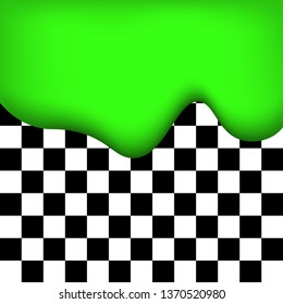 Liquid paint, neon green color, checkered abstract background, vector illustration.