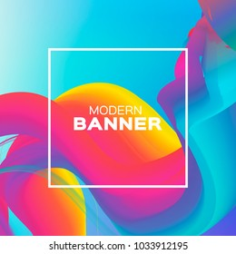 Liquid Poster. Colorful Wave Smoke Shapes with Square frame. Space for text. Abstract Colorful Dynamic Effect. Modern Template Banner. Vector design illustration.