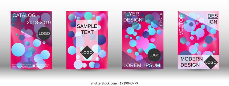 Liquid poster with round shapes. A set of modern abstract covers. Future futuristic template with abstract balls for design of banner, poster, booklet, report, magazine.