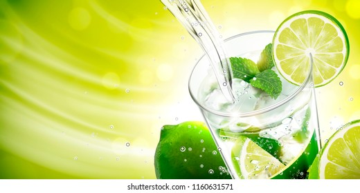 Liquid pouring into mojito with lime and mints on green background in 3d illustration