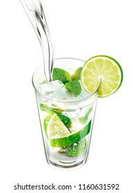 Liquid pouring into mojito with lime and mints on white background in 3d illustration