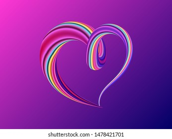 Liquid purple  colorful heart background. Vector illustration