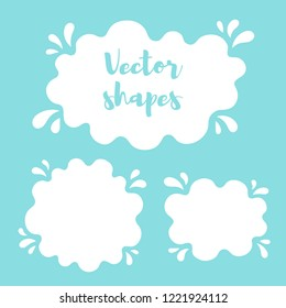 Liquid rounded shapes, frames with uneven wavy edge, contour. Water, fluid, paint, milk puddle, stain, blot with splashes, drops, blobs, droplets. Design elements, backgrounds for text, lettering.