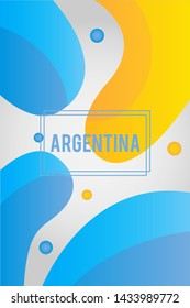 Liquid shape background with the colors of the Argentina flag. Soccer championship. Ready to use in web banners, social media, presentation, flyers, posters and wallpapers. Brazilian Soccer cup.