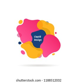 liquid shape fluid design logo. flat simple jelly style trendy modern fun ink logotype minimal memphis art isolated on white. concept of flowing template like creative vaporwave and contemporary paint