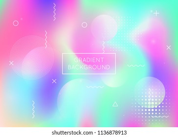 Liquid shapes background with dynamic fluid. Holographic bauhaus gradient with memphis elements. Graphic template for flyer, ui, magazine, poster, banner and app. Colorful liquid shapes background.