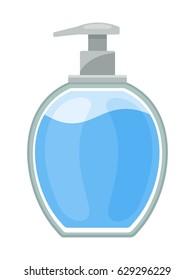 Liquid soap bottle isolated on white background, vector illustration.