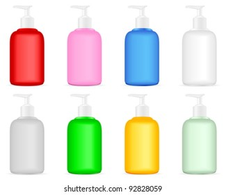 Liquid soap container set on a white background. Vector illustration.