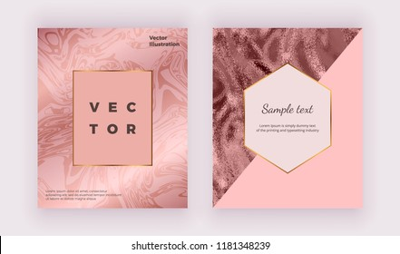 Liquid sparkle glossy marble texture. Geometric covers design with rose gold, pink triangles. Trendy fluid template for celebration, flyer, placard, party, social media, invitation, banner, wedding