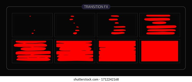 liquid Transitions Effect. liquid transition FX Sprite Sheet of Ready for games, cartoon or animation and motion design. white color scene transition.