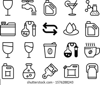 liquid vector icon set such as: shake, full, faucet, raindrop, communication, milk, material, spigot, wet, break, direction, leaky, refreshing, refreshment, rotation, repeat, aroma, brewery