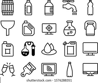 liquid vector icon set such as: wooden, filter, cocktail, rain, toast, stroke, fun, lid, environment, marketing, mockup, maintenance, wet, turn, leaky, funnel, wood, vintage, office, circle