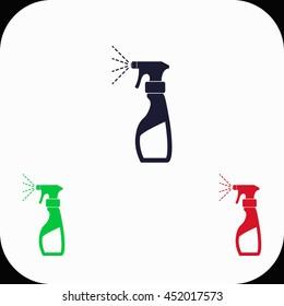 Liquid for washing window Illustration set. Blue, green, red icon.