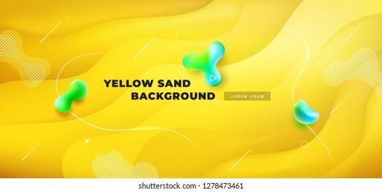 Liquid yellow color background design. Fluid yellow gradient shapes composition. Futuristic design posters. Eps10 vector.
