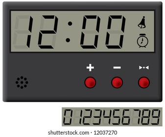 liquid-crystal clock and digits set. Vector illustration. Isolated on white background.