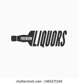 Liquor bottle logo on white background