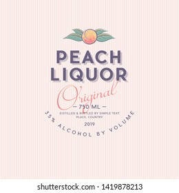 Liquor Label with Ripe Peach and Letters. Fruit with leaves in a circle. Style Packaging Design.