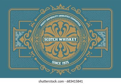 Liquor label. Western style