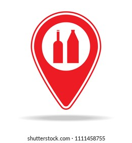 liquor store map pin icon. Element of warning navigation pin icon for mobile concept and web apps. Detailed liquor store map pin icon can be used for web and mobile on white background