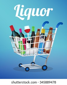 Liquors bottle and can on a shopping cart