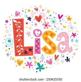 Lisa female name decorative lettering type design