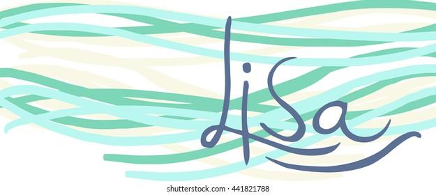 Lisa. Vector illustration. Female name. Full color. Lettering. Sea waves effect. Good for invitation cards etc.