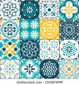 Lisbon Azujelo vector seamless tiles design - Portuguese retro pattern in turqouoise and yellow, tile big collection. Ornamental textile background inspired by Spanish and Portuguese traditional tiles