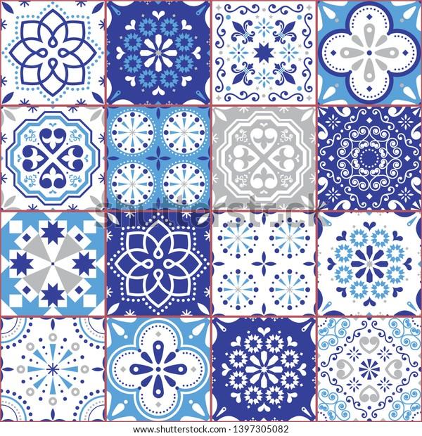 Lisbon Azujelo Vector Seamless Tiles Design Stock Vector