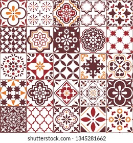 Lisbon Azulejos tile vector pattern, Portuguese or Spanish retro old tiles mosaic, Mediterranean seamless brown design. Ornamental textile background inspired by Spanish and Portuguese traditional art