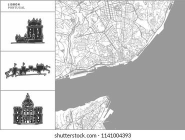 Lisbon city map with hand-drawn architecture icons. All drawigns, map and background separated for easy color change. Easy repositioning in vector version.