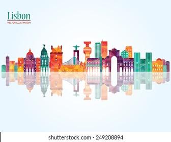 Lisbon detailed skyline. Vector illustration