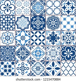 Lisbon geometric Azulejo tile vector pattern, Portuguese or Spanish retro old tiles mosaic, Mediterranean seamless navy blue design.  Ornamental indigo textile background